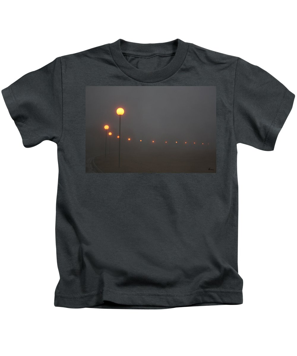 Ice Fog Park Lamps Misty Cold Weather Eerie Kids T-Shirt featuring the photograph Ice Fog And Park Lamps by Andrea Lawrence
