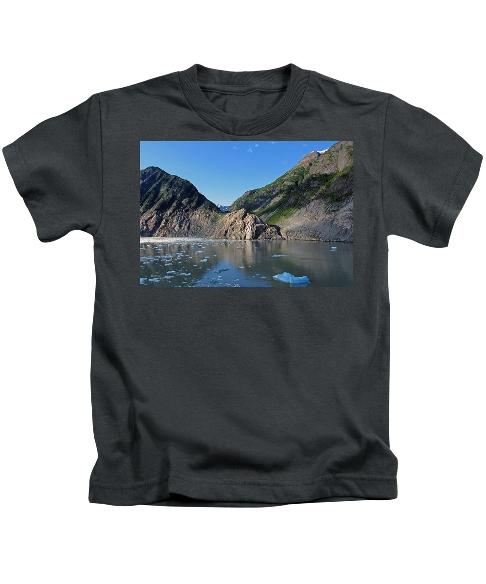 Landscape Kids T-Shirt featuring the photograph Ice On The Water by Maria Keady