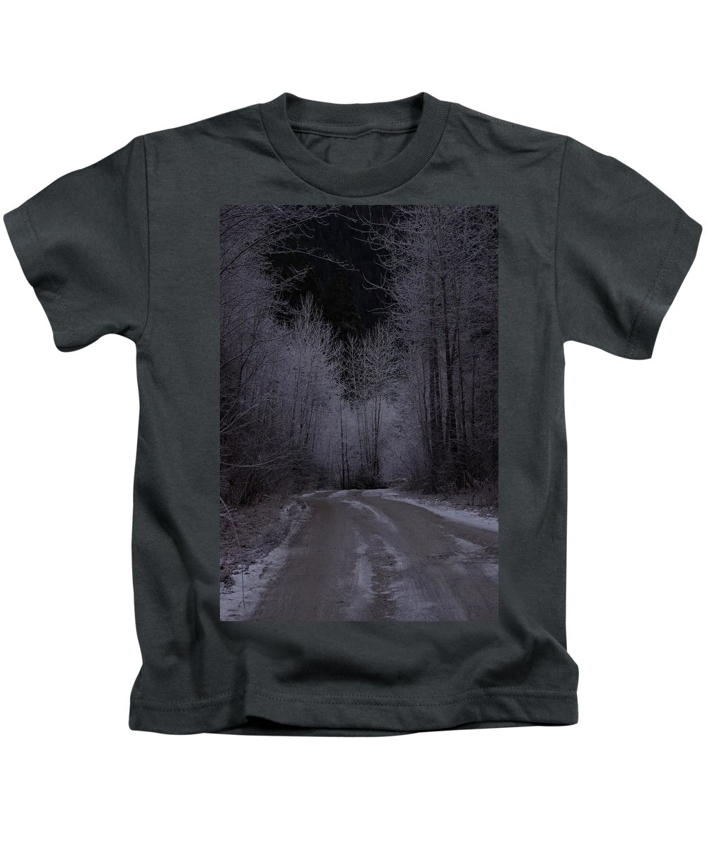 Ice Kids T-Shirt featuring the photograph Ice Road by Cindy Johnston