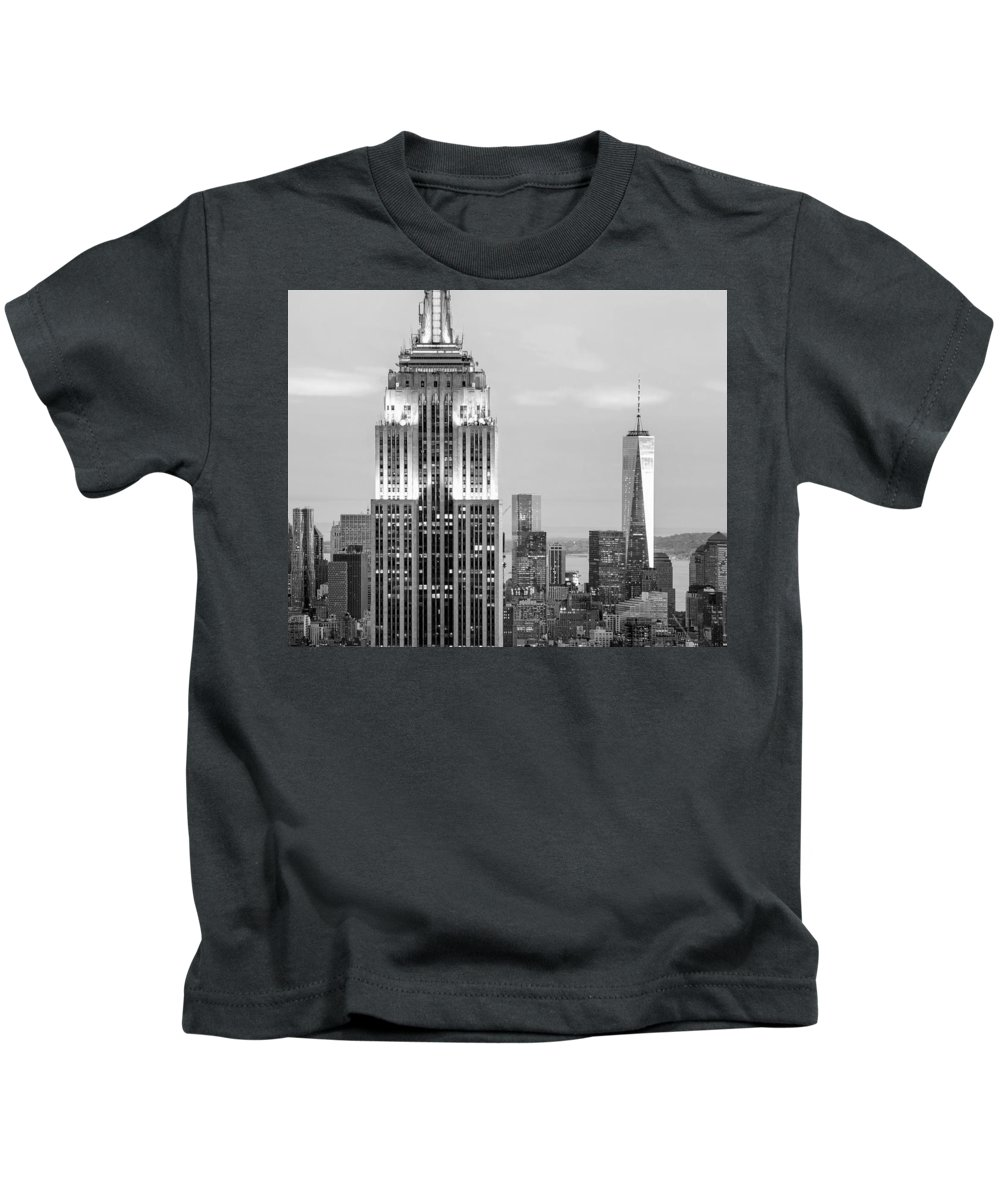 Empire State Building Kids T-Shirt featuring the photograph Iconic Skyscrapers by Az Jackson