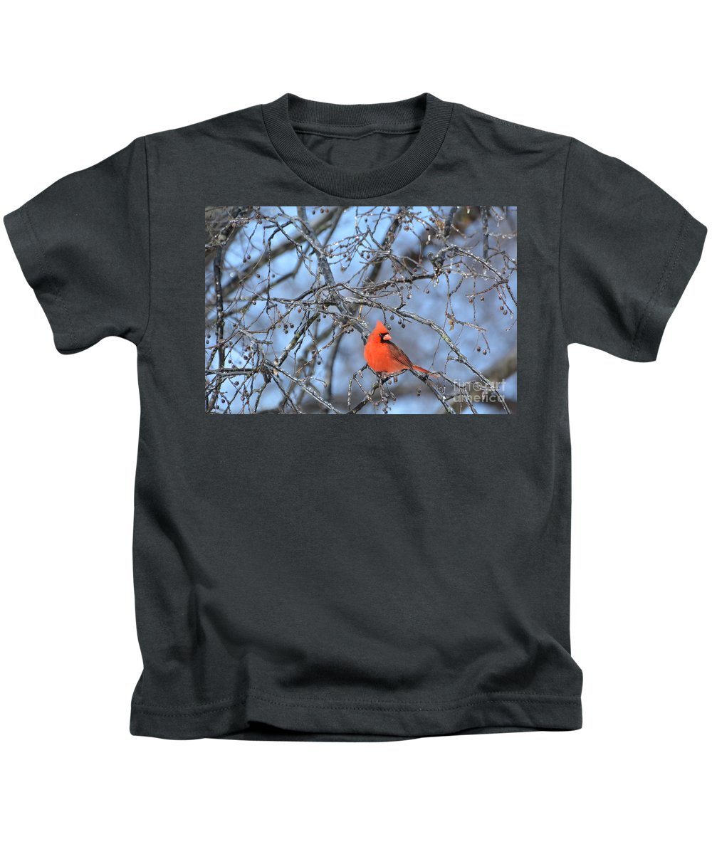 Red Bird Kids T-Shirt featuring the photograph Icy Red by Vicky Tubb