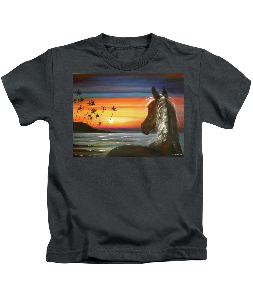Art Kids T-Shirt featuring the painting I'll Be There by Gina De Gorna