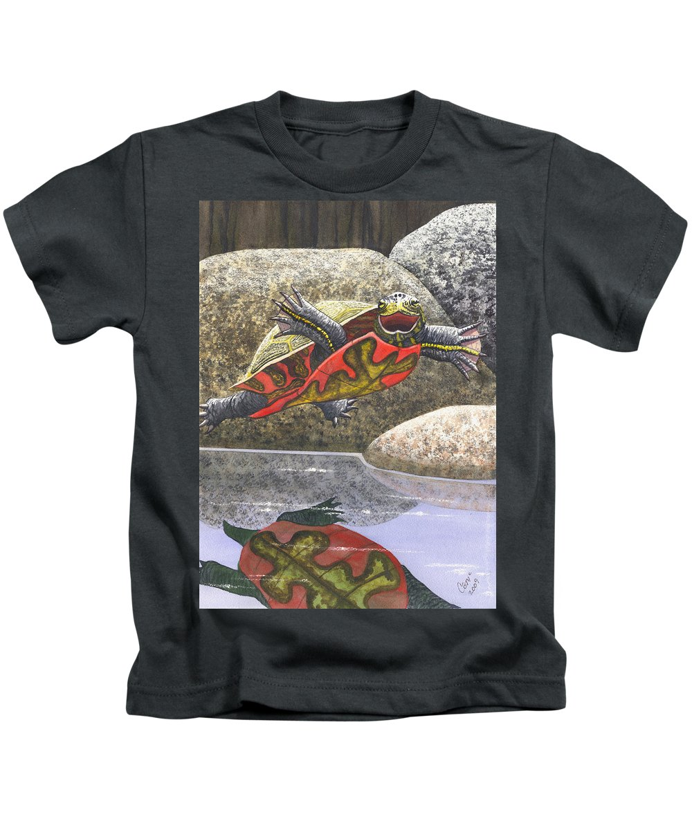 Turtle Kids T-Shirt featuring the painting Im Flying by Catherine G McElroy