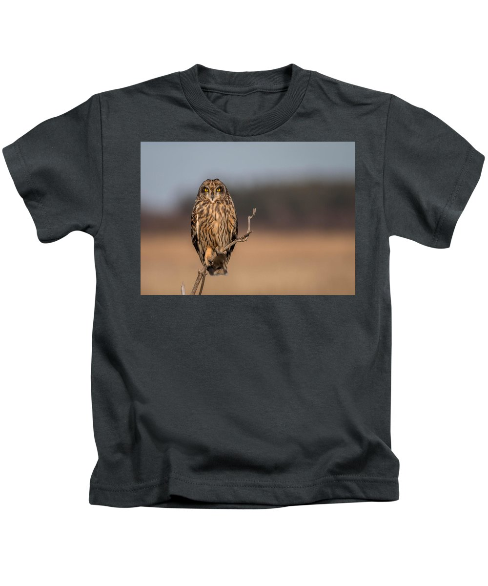 Short Eared Owl Kids T-Shirt featuring the photograph I'm Watching by Rodney Ervin