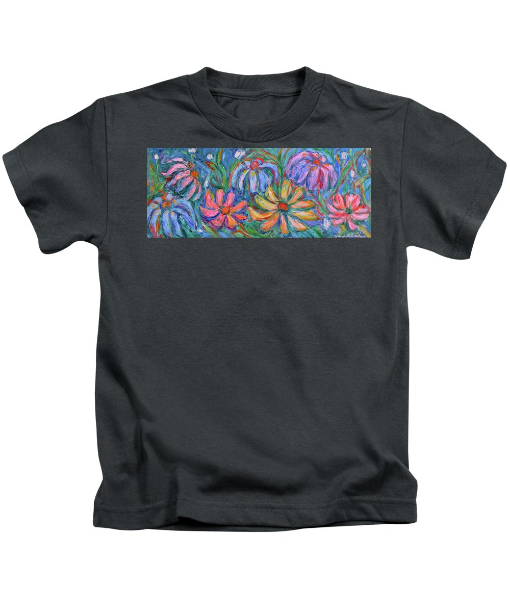 Flowers Kids T-Shirt featuring the painting Imaginary Flowers by Kendall Kessler