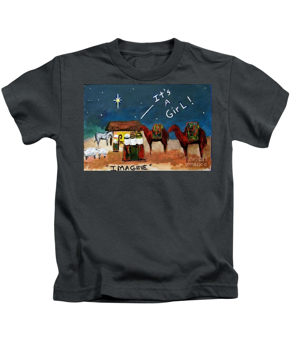 Christmas Card Kids T-Shirt featuring the painting Imagine by Frances Marino
