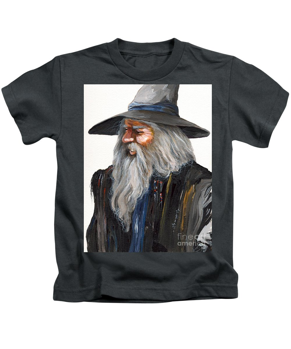 Fantasy Art Kids T-Shirt featuring the painting Impressionist Wizard by J W Baker