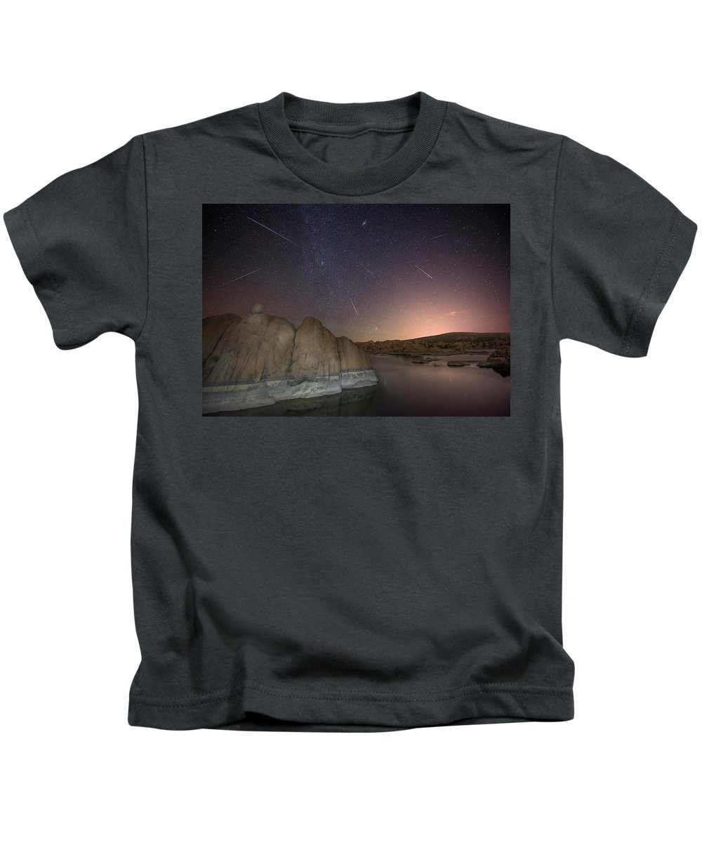 Perseid Kids T-Shirt featuring the photograph In A Flash by Theresa Rose Ditson