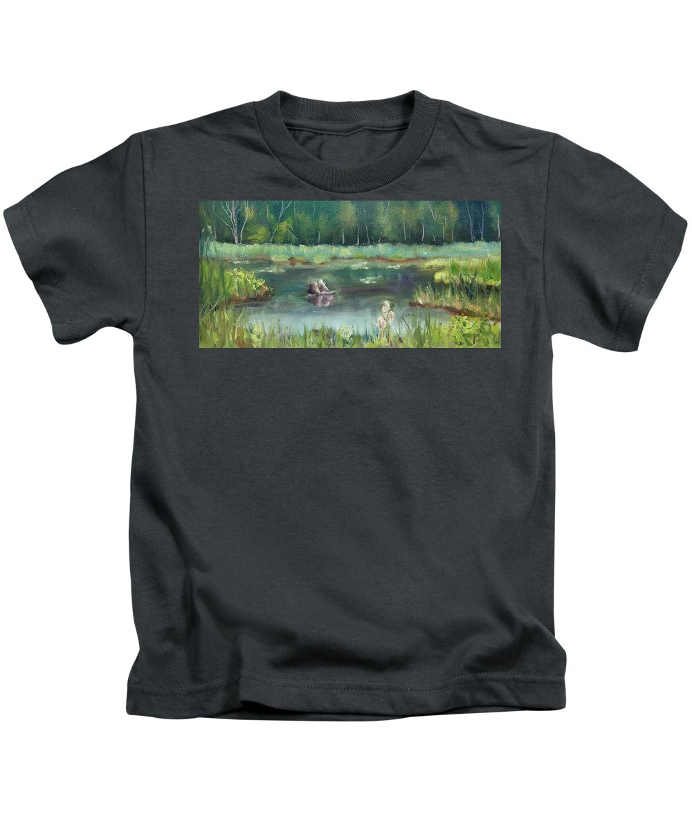 Marsh Kids T-Shirt featuring the painting In Company of Bullfrogs by Sharon E Allen