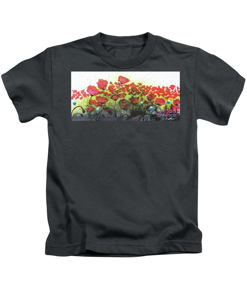 Abstract Kids T-Shirt featuring the painting Fields Of Poppies by Karla Britfeld