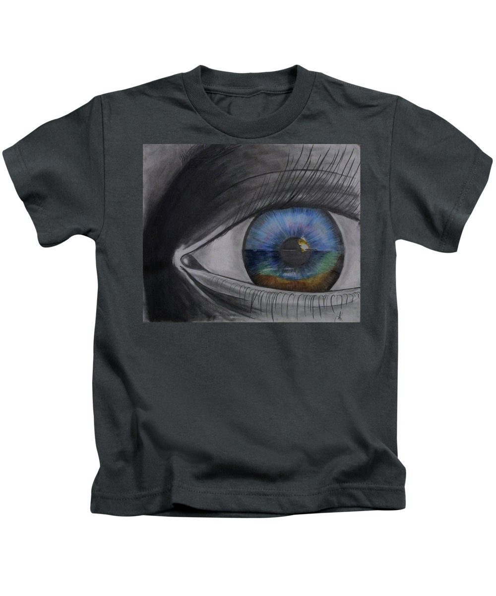 Designer Kids T-Shirt featuring the drawing In The Eye Of The Beholder by Annette Kinship