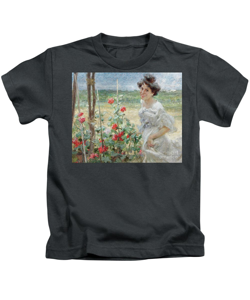 Flower Kids T-Shirt featuring the painting In The Flower Garden, 1899 by Umberto Veruda