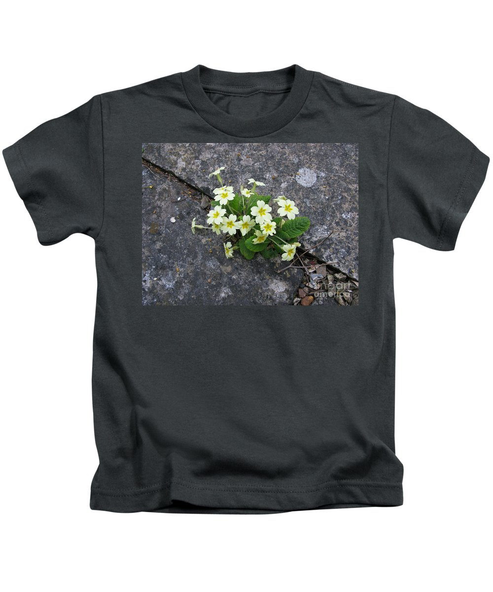 Primrose Kids T-Shirt featuring the photograph In The Garden Path by Ann Horn