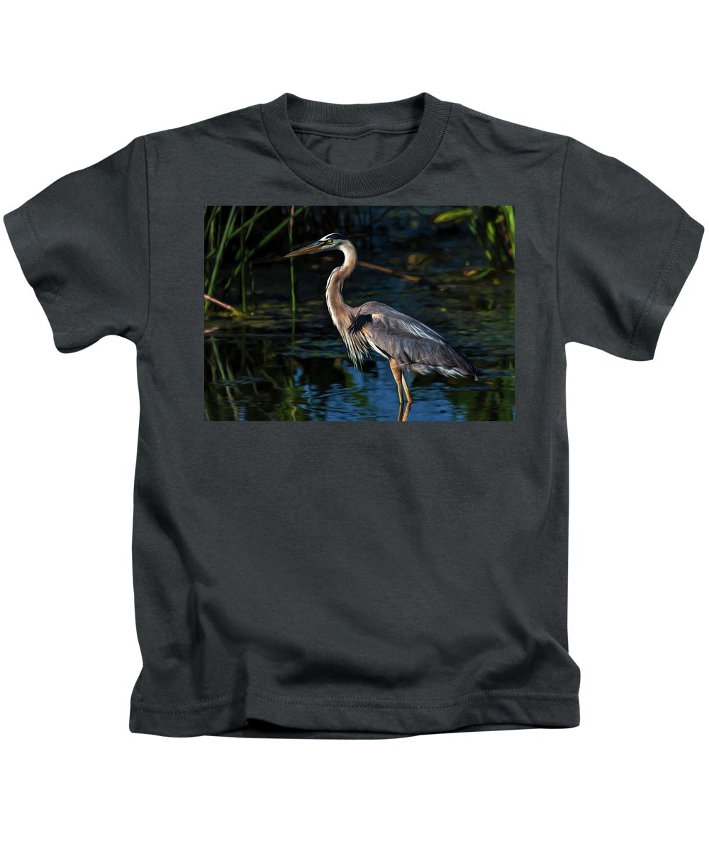 Heron Kids T-Shirt featuring the photograph In The Stillness by Cyndy Doty