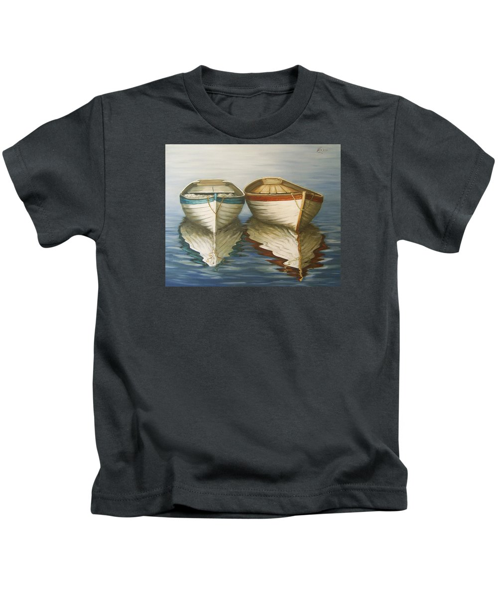 Seascape Ocean Reflection Water Boats Sea Kids T-Shirt featuring the painting In Touch by Natalia Tejera