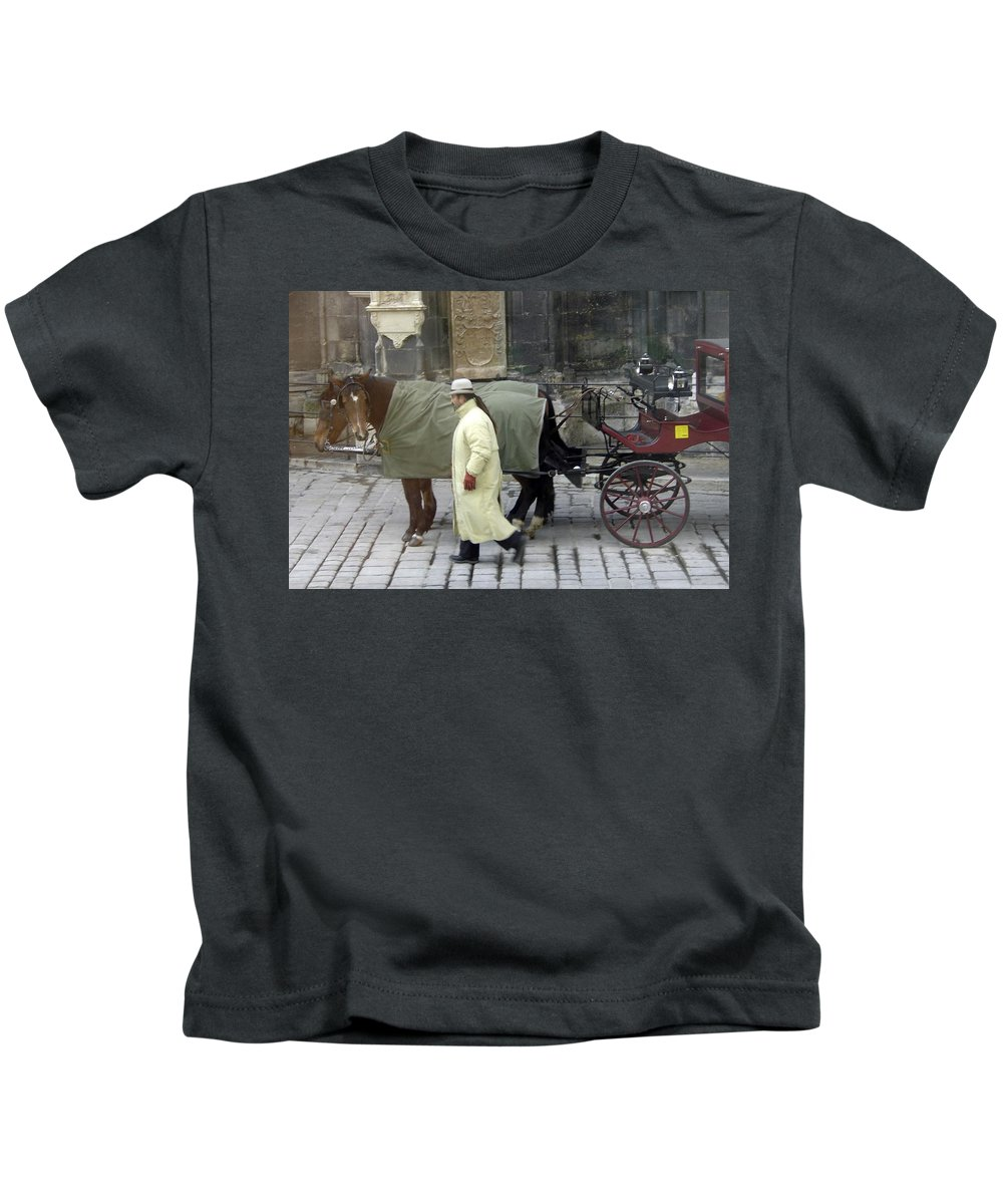 Horse Kids T-Shirt featuring the photograph In Vienna by Mary Rogers