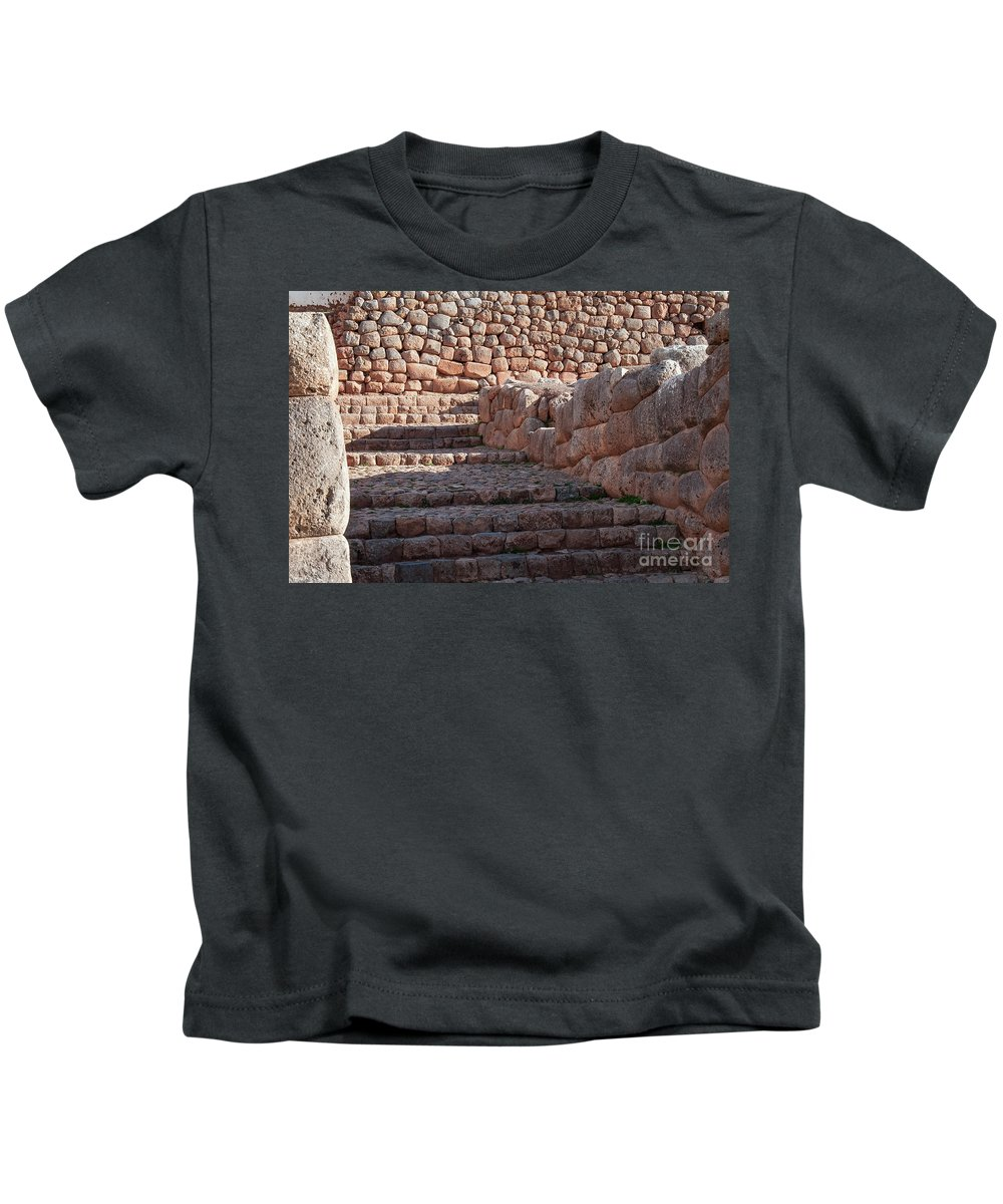Chinchero Site Kids T-Shirt featuring the photograph Inca Steps At Chinchero by Bob Phillips
