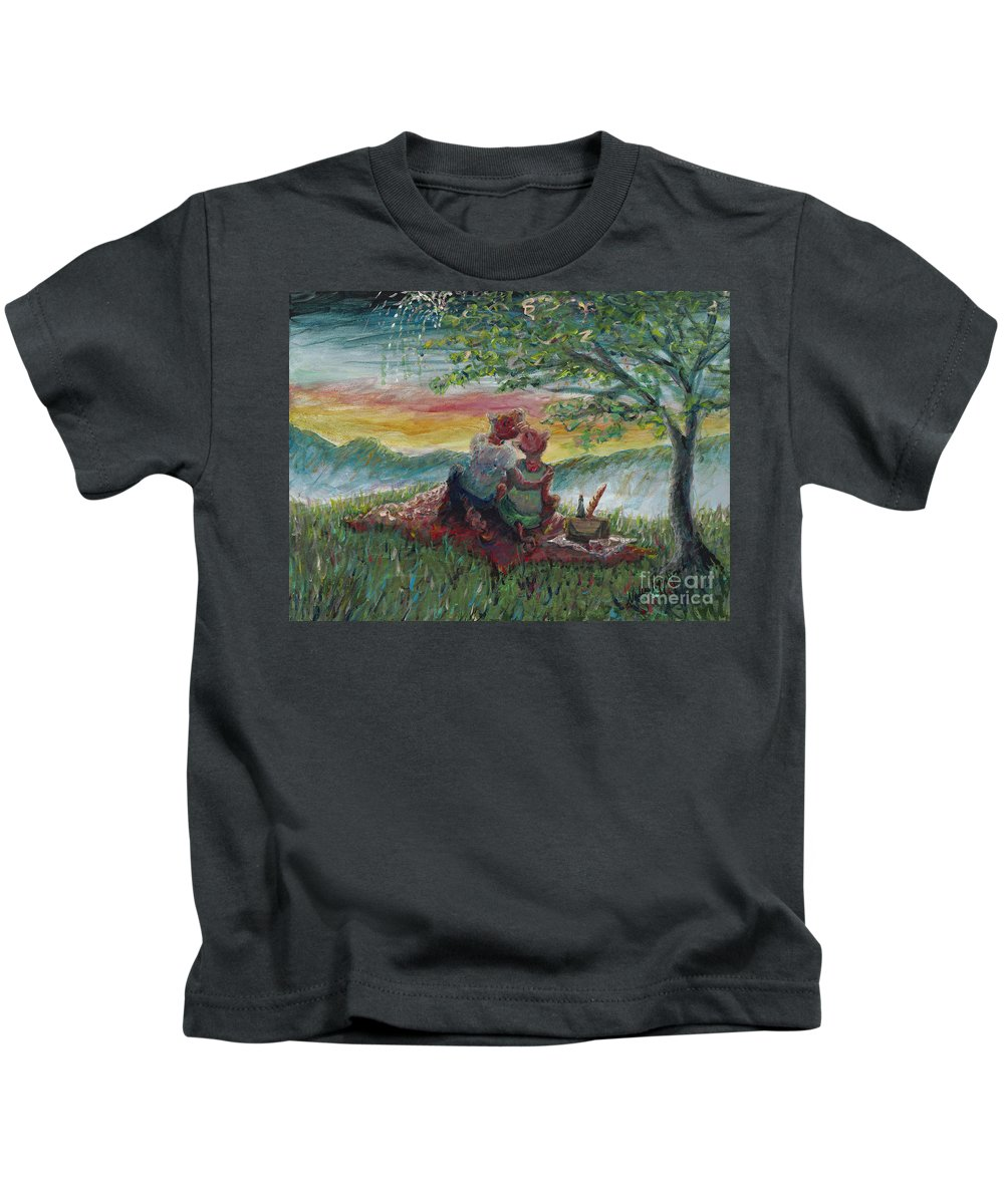 Landscape Kids T-Shirt featuring the painting Independance Day Pignic by Nadine Rippelmeyer