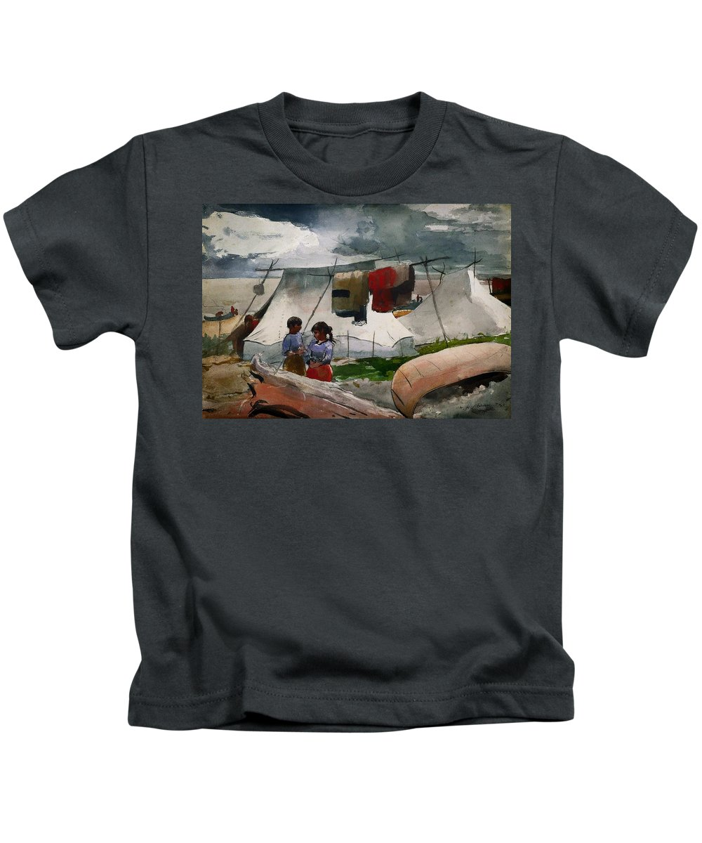 Painting Kids T-Shirt featuring the painting Indian Camp - Roberval P Q by Mountain Dreams