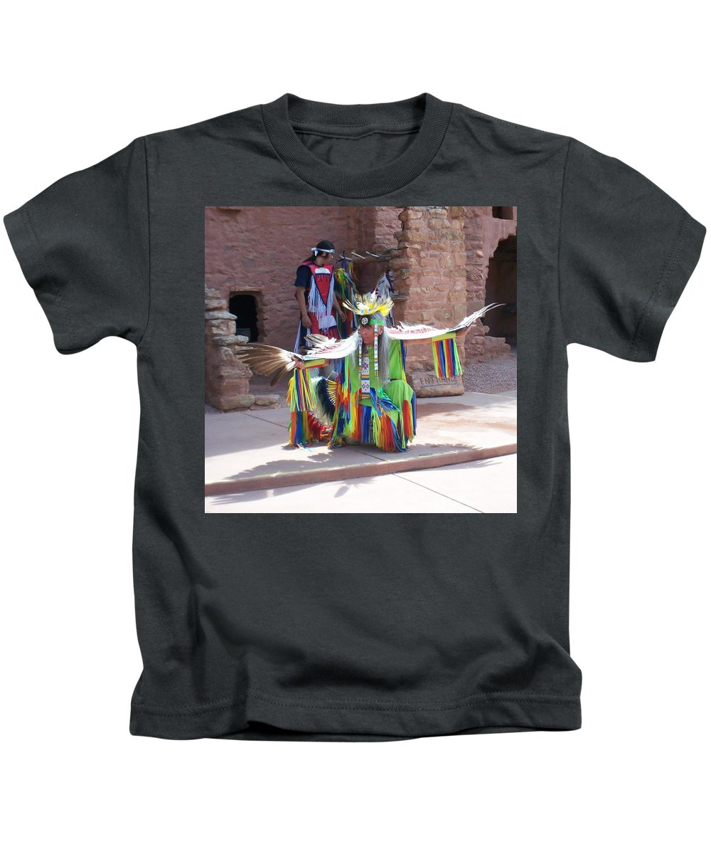 Indian Dancer Kids T-Shirt featuring the photograph Indian Dancer by Anita Burgermeister