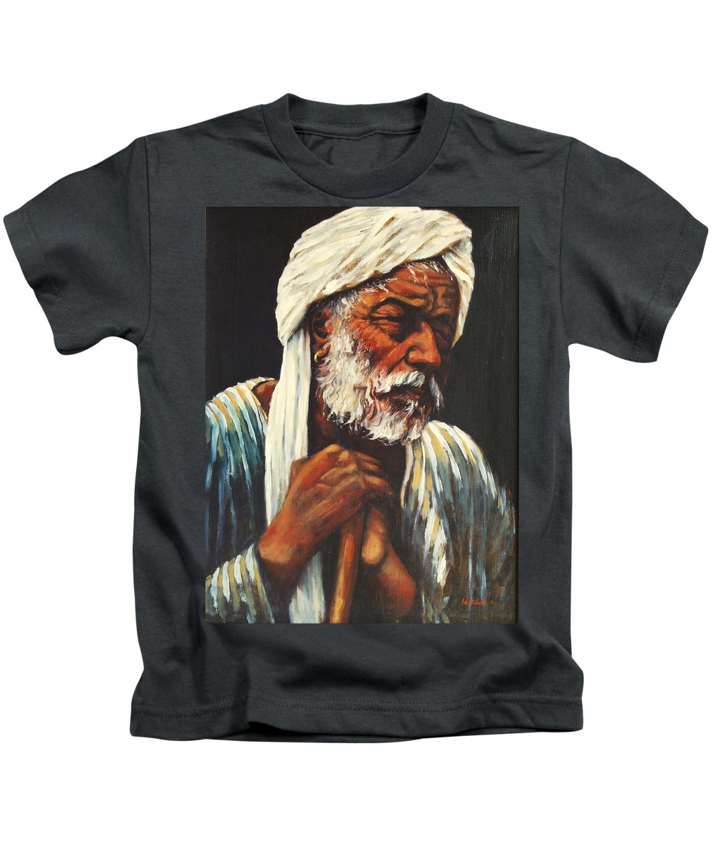 India Kids T-Shirt featuring the painting Indian Man by Rick Nederlof