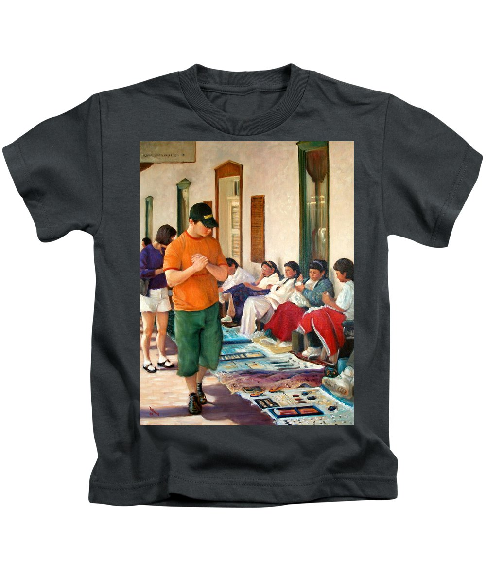 Realism Kids T-Shirt featuring the painting Indian Market by Donelli DiMaria