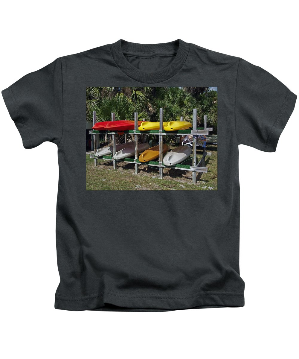 Kayak Kids T-Shirt featuring the photograph Indian River In Florida by Allan Hughes