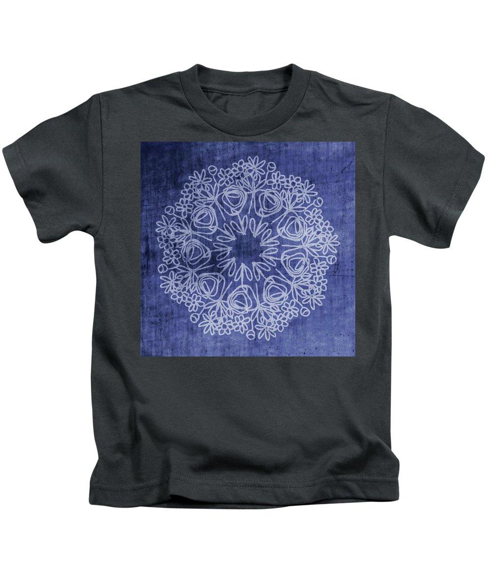 Indigo Kids T-Shirt featuring the mixed media Indigo Mandala 1- Art By Linda Woods by Linda Woods