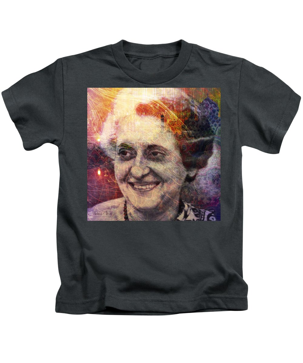 indira Gandhi Kids T-Shirt featuring the digital art Indira by Barbara Berney