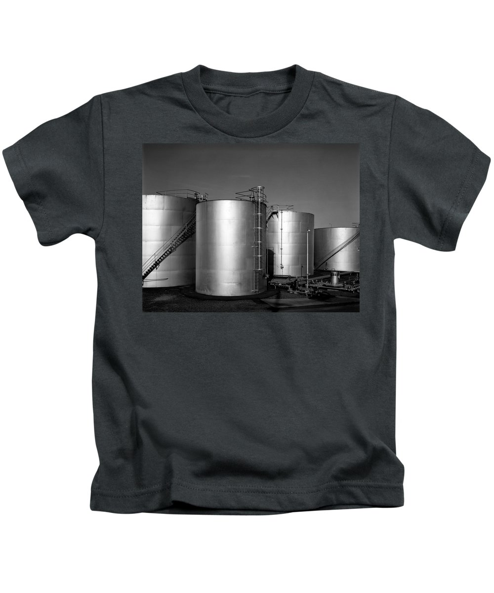 Industrial Kids T-Shirt featuring the photograph Industrial Storage Tanks by Lee Santa