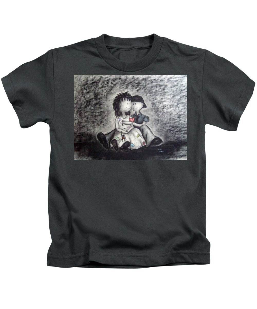 Ragdolls Kids T-Shirt featuring the drawing Inevitable by Cynthia Campbell
