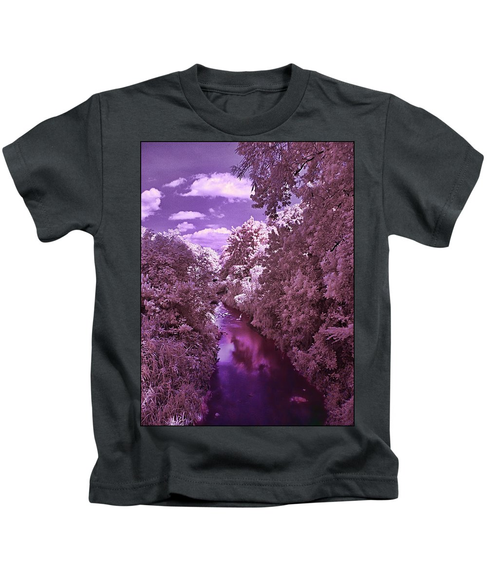 River Trees Wather Sky Clouds Infrared Magenta Blue White River Trees Wather Sky Clouds Infrared Magenta Blue White Framed Prints Kids T-Shirt featuring the photograph Infrared River by Galeria Trompiz