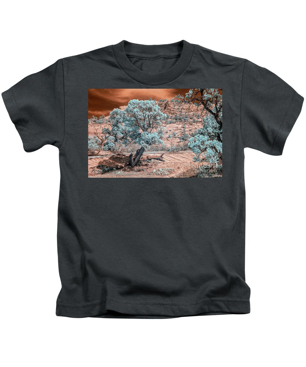 Ir Kids T-Shirt featuring the photograph Infrared Zion by Joseph Yvon Cote