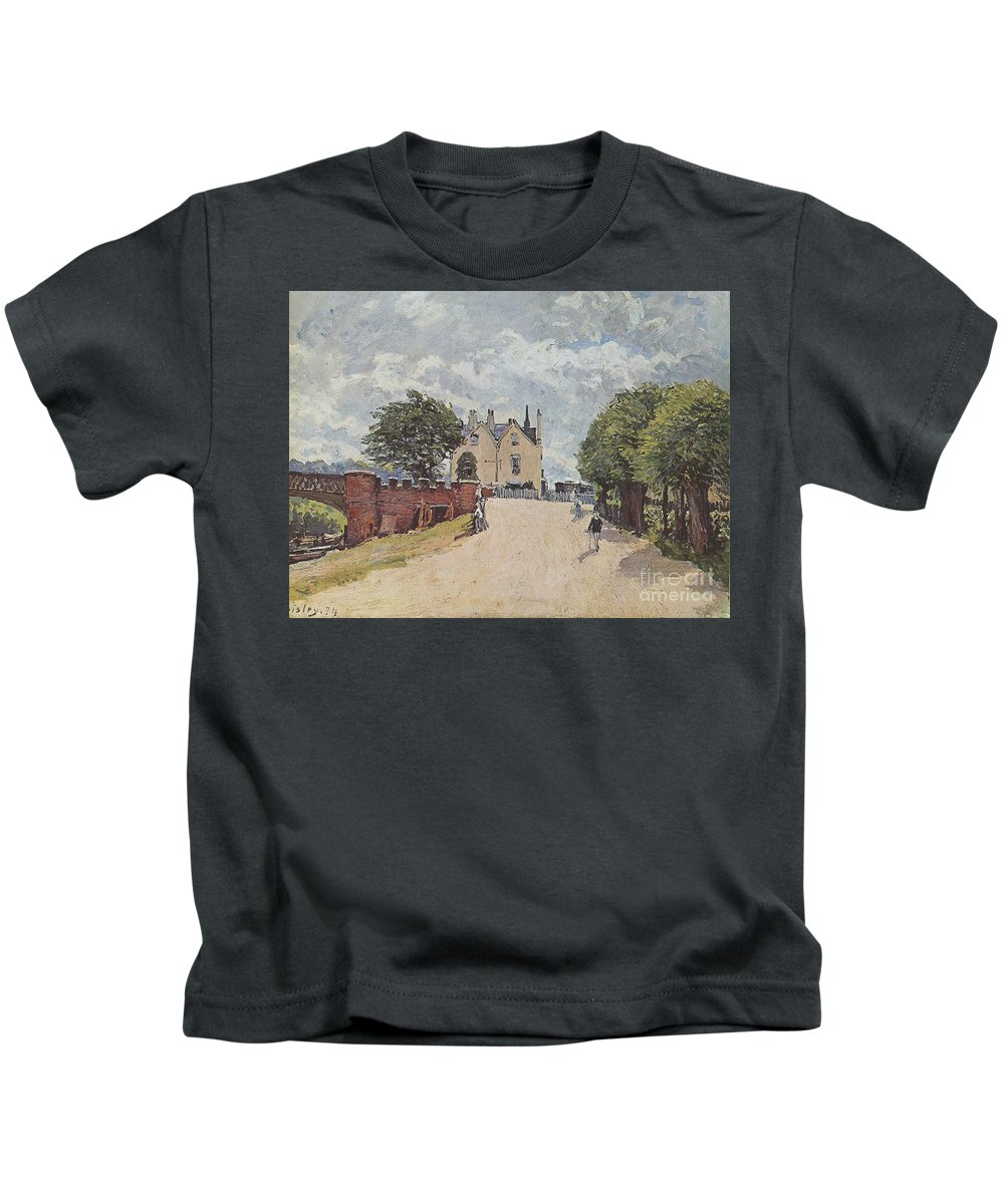 Inn At East Molesey With Hampton Court Bridge Kids T-Shirt featuring the painting Inn At East Molesey by MotionAge Designs