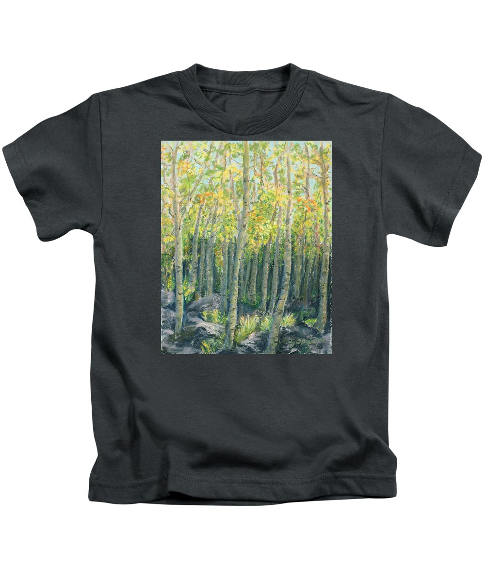 Aspens Kids T-Shirt featuring the painting Into The Aspens by Mary Benke