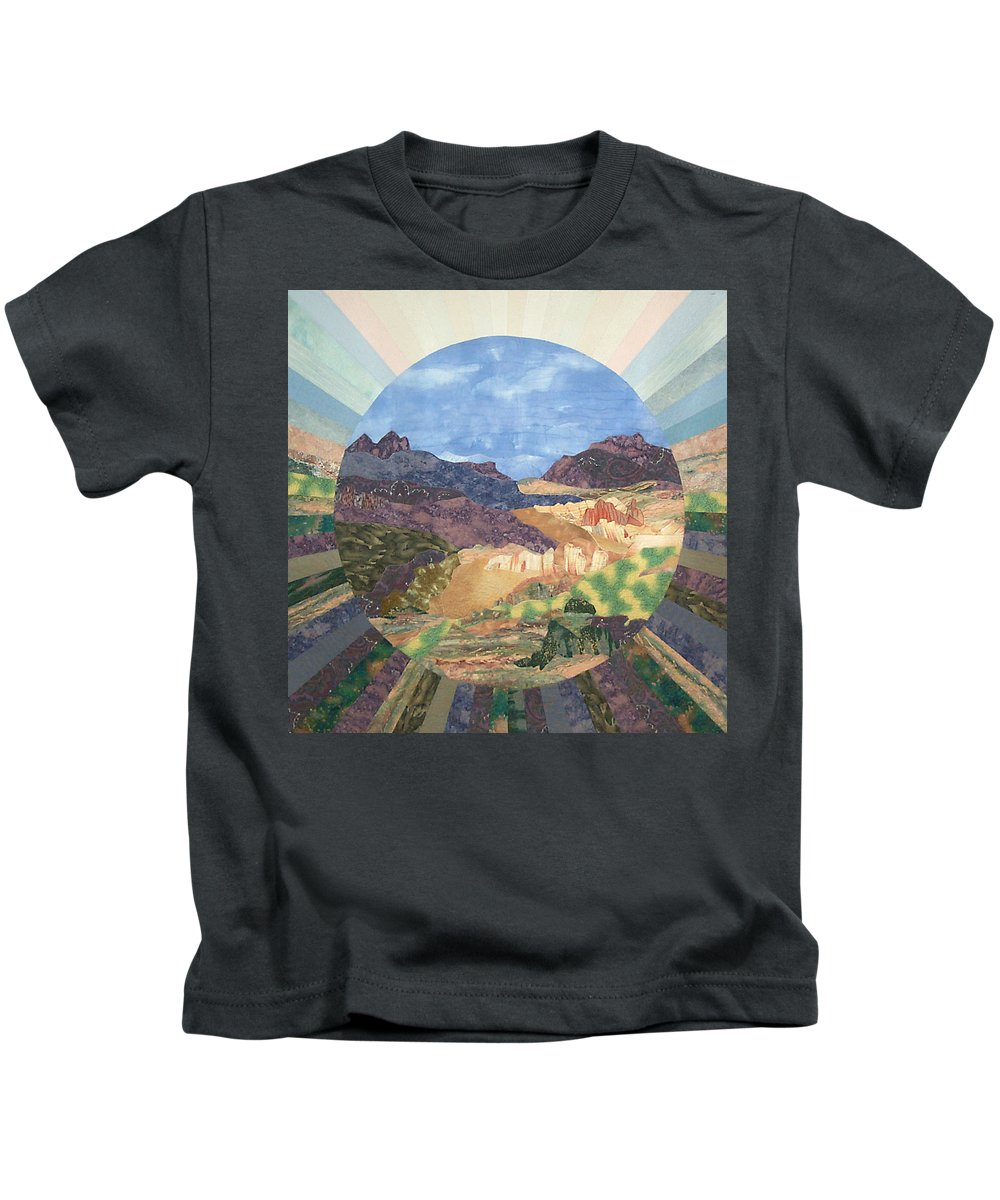 Quilt Kids T-Shirt featuring the tapestry - textile Into The Mystery by MtnWoman Silver
