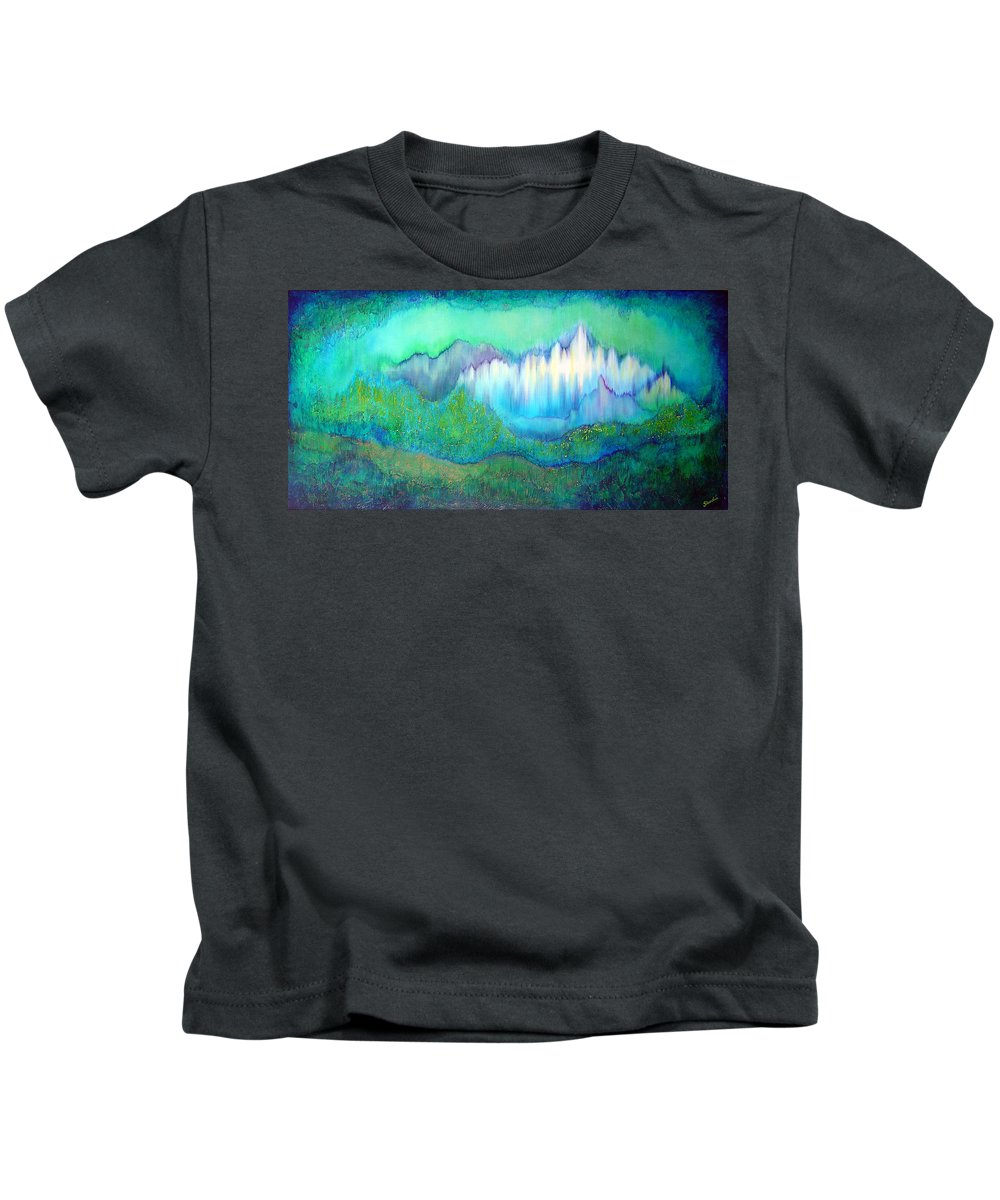 Blue Kids T-Shirt featuring the painting Into The Ocean by Shadia Derbyshire