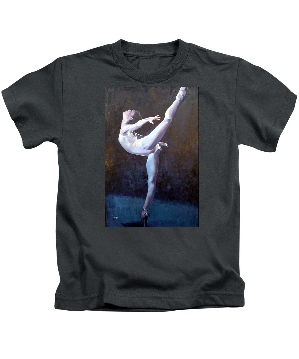 Ballerina Kids T-Shirt featuring the painting Introduction by Janet Lavida