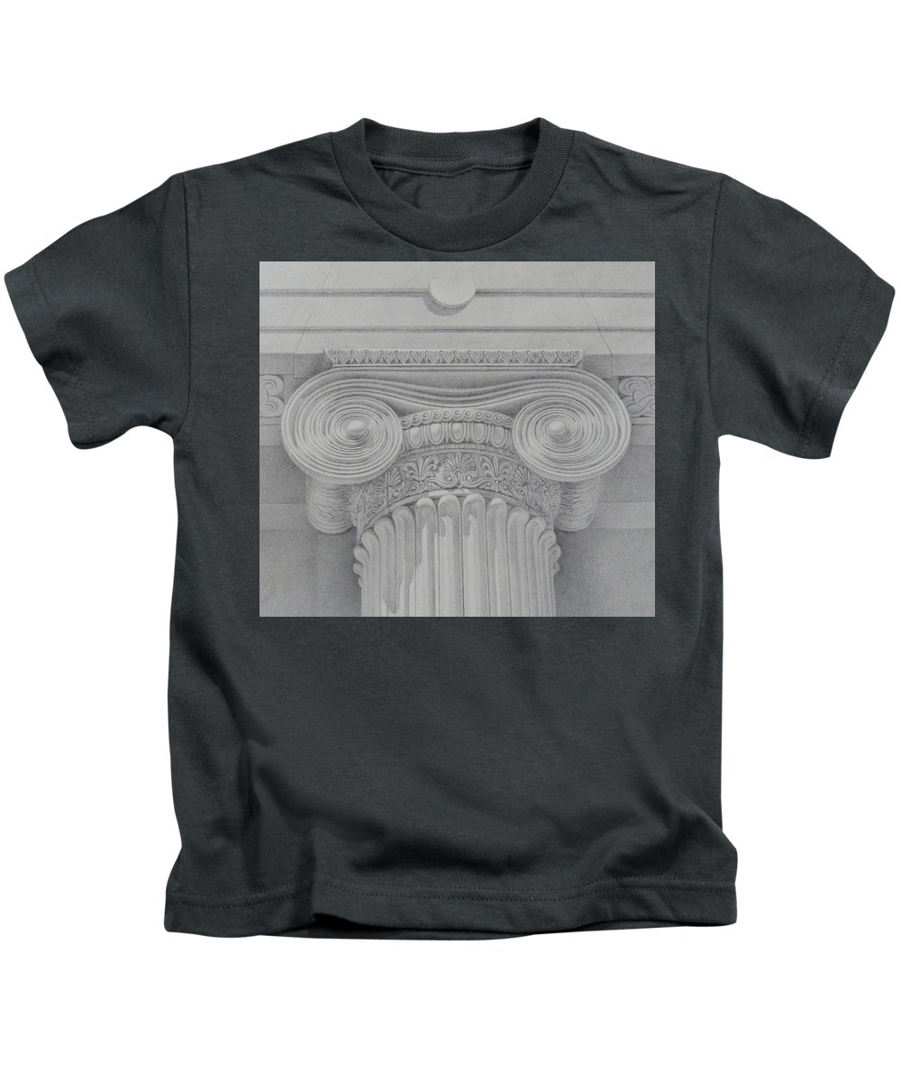 Silverpoint Kids T-Shirt featuring the drawing Ionic Capital Of Wall Street, Ny by Anzhelika Doliba