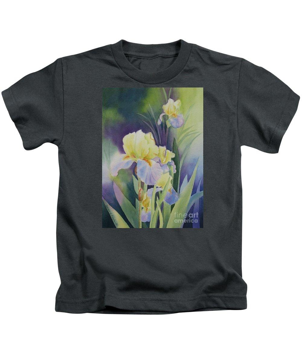 Iris Kids T-Shirt featuring the painting Iris by Deborah Ronglien