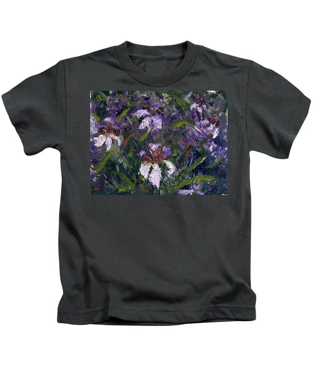 Abstract Florida Kids T-Shirt featuring the painting Iris Garden by Diane Martens