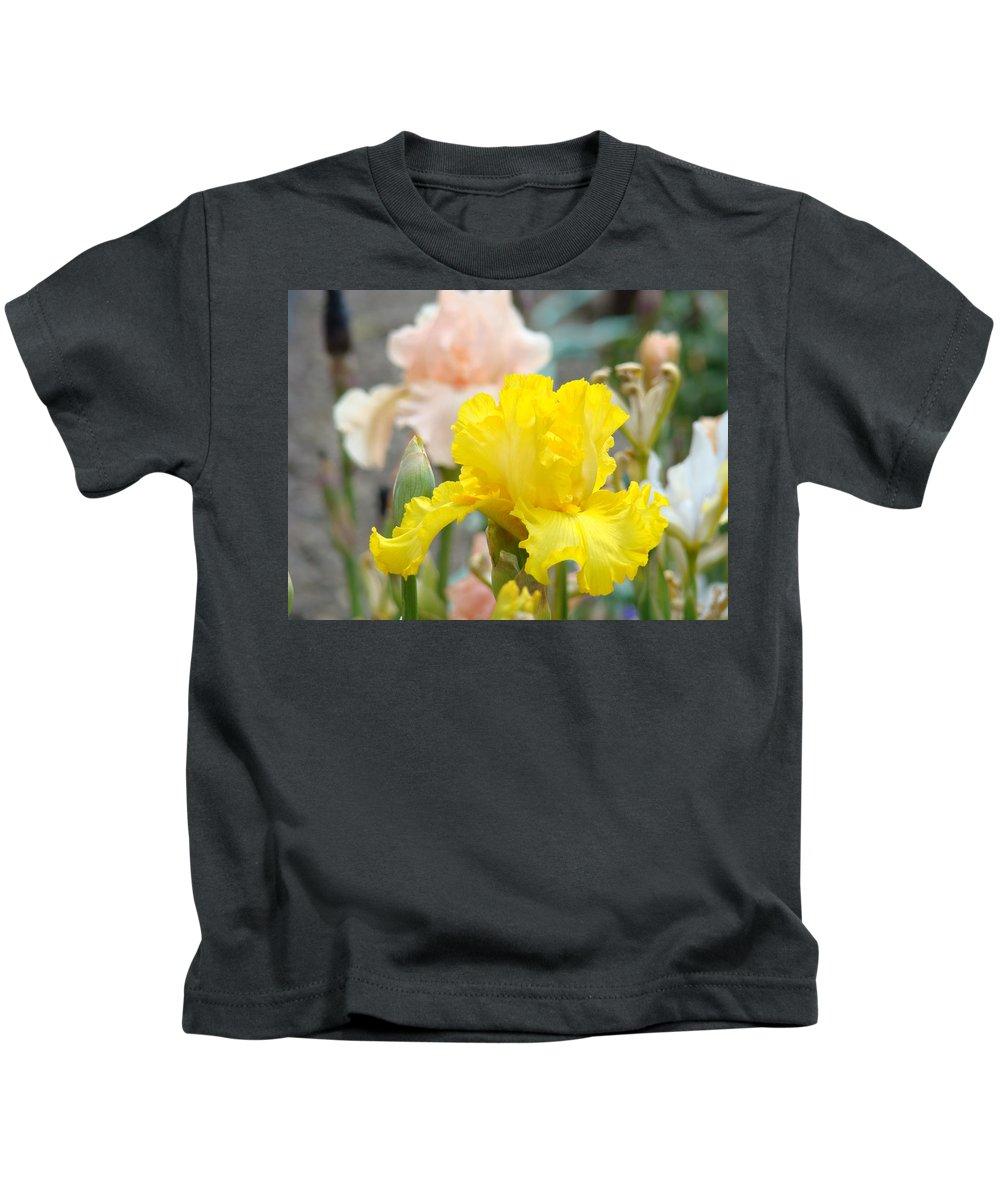 �irises Artwork� Kids T-Shirt featuring the photograph Irises Botanical Garden Yellow Iris Flowers Giclee Art Prints Baslee Troutman by Baslee Troutman