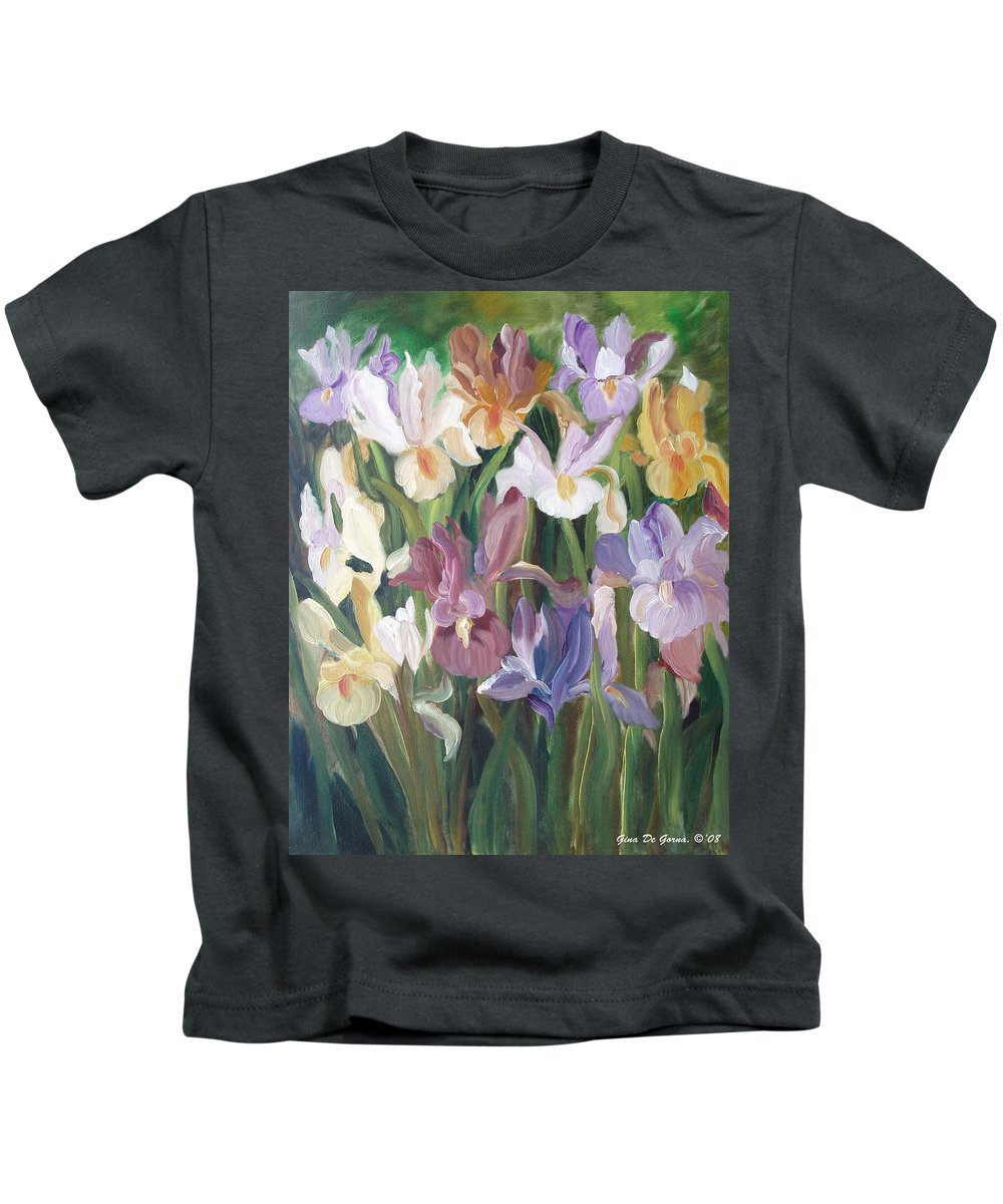Irises Kids T-Shirt featuring the painting Irises by Gina De Gorna