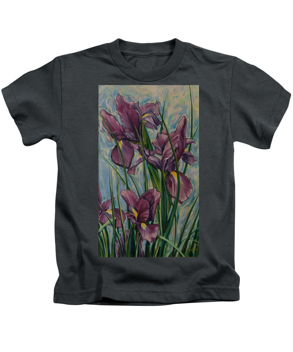 Flowers Kids T-Shirt featuring the painting Irises by Rick Nederlof