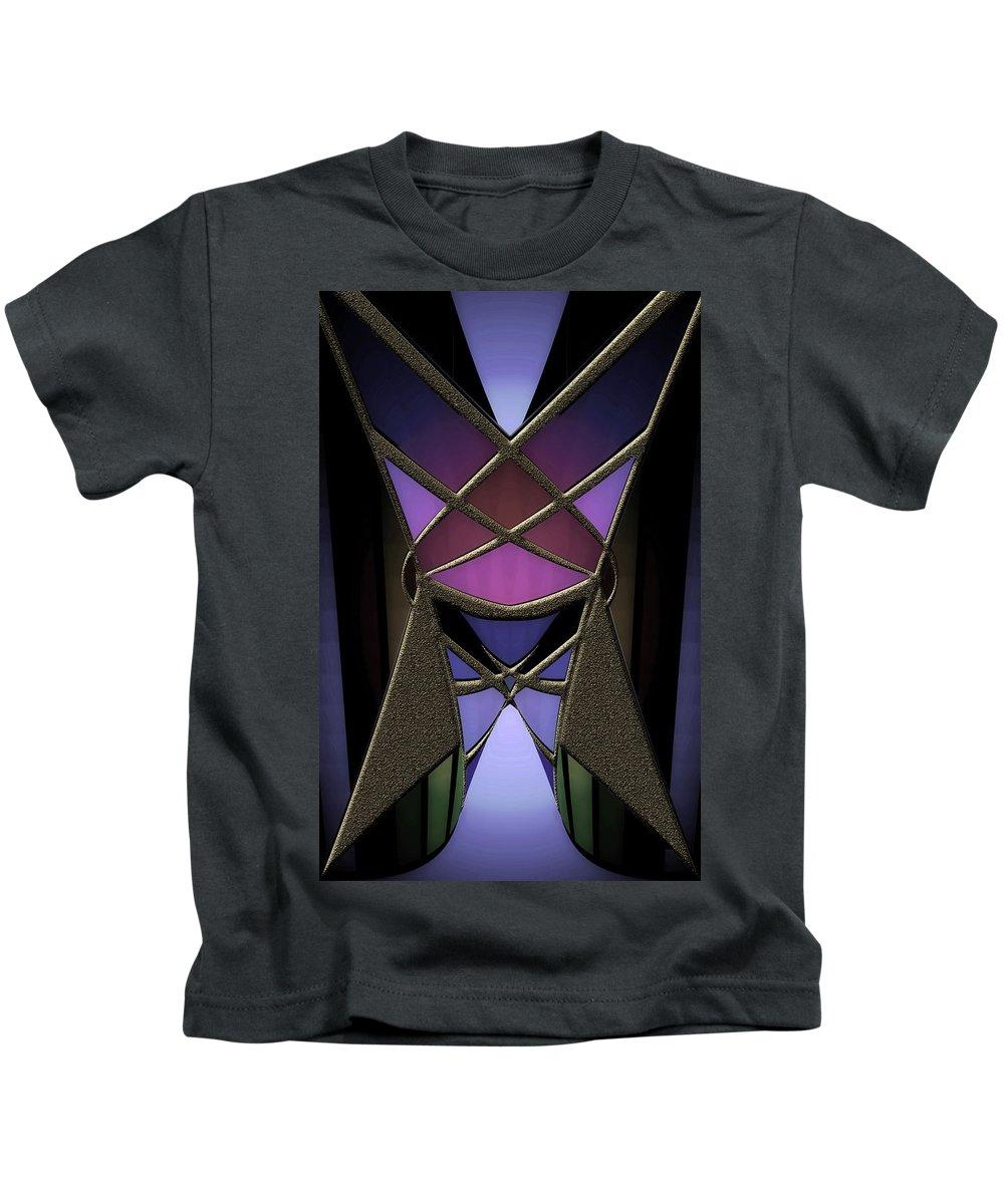 Geometric Abstract Kids T-Shirt featuring the digital art Iron Butterfy 2 by Warren Furman