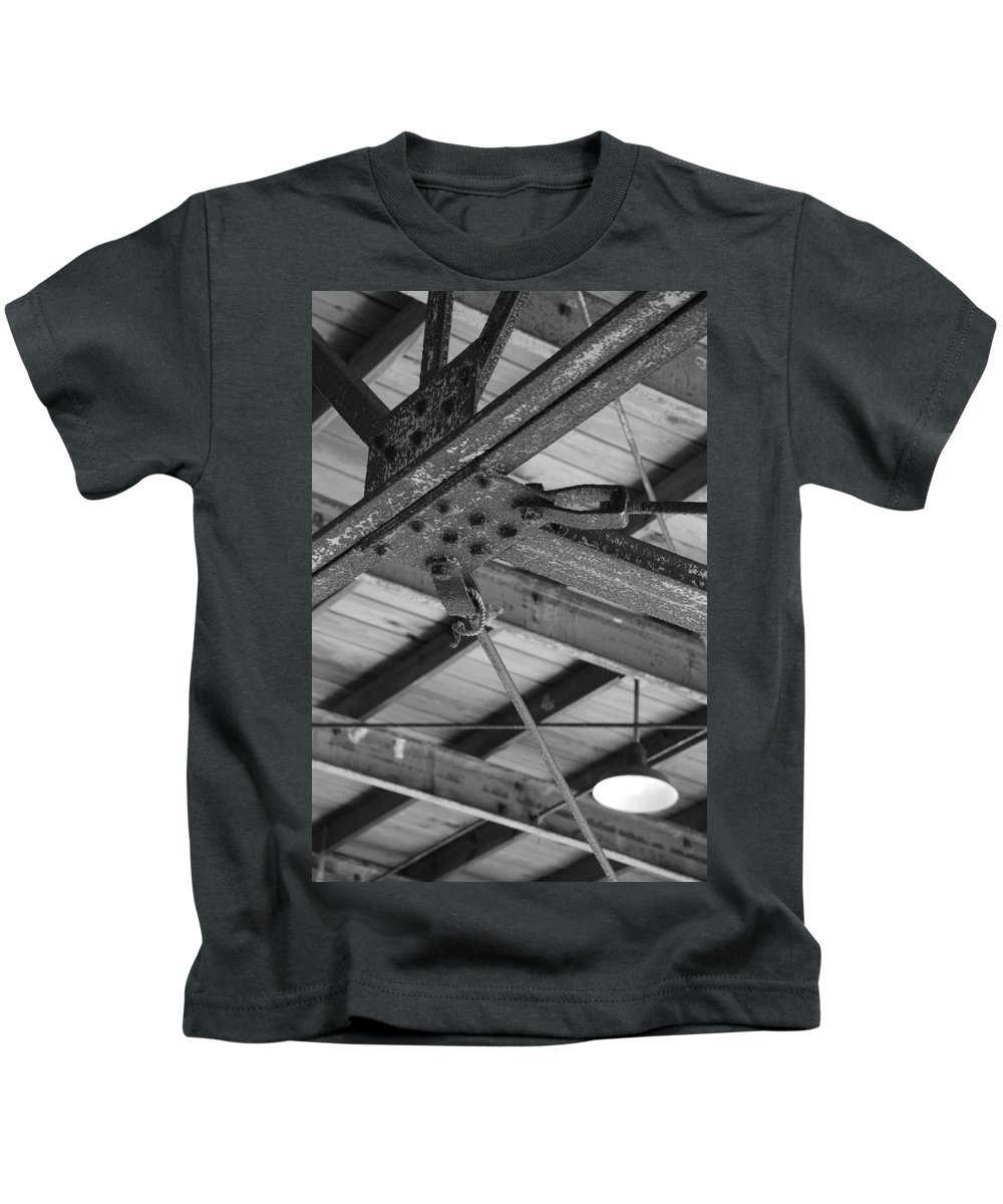 Black And White Kids T-Shirt featuring the photograph Iron Roof by Rob Hans