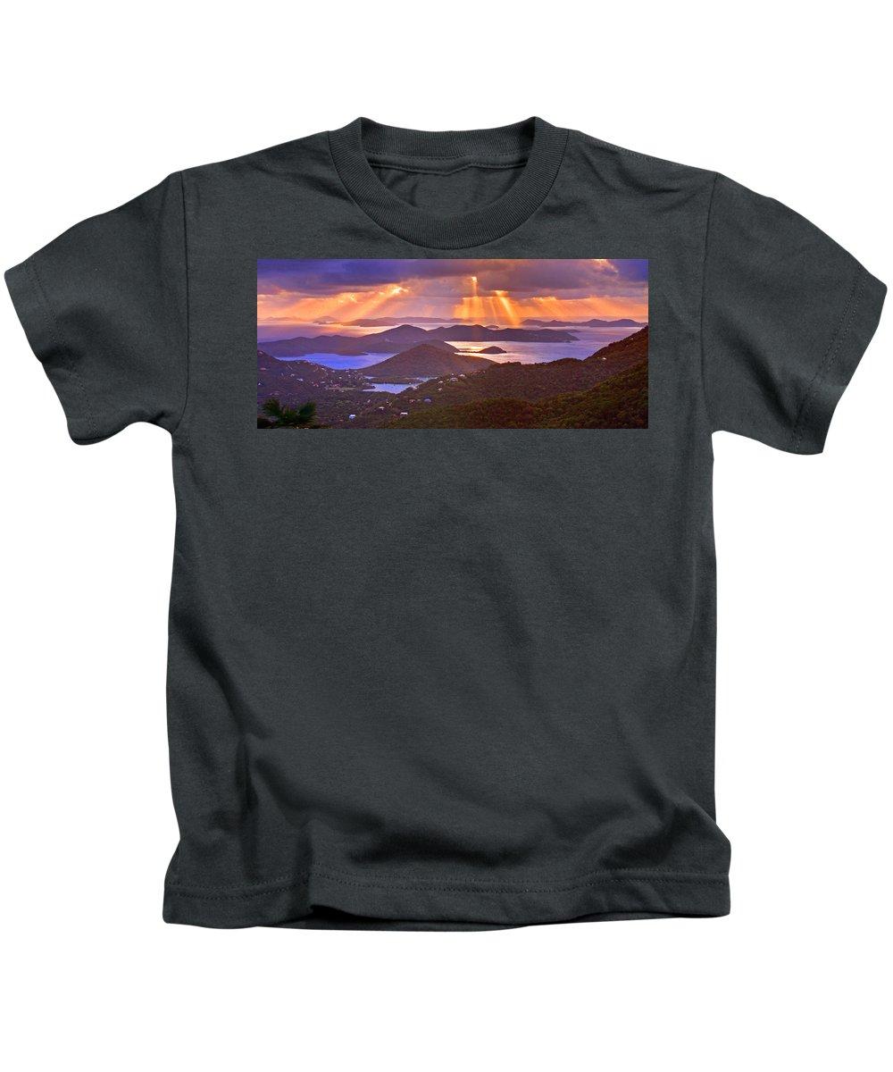 Virgin Islands Kids T-Shirt featuring the photograph Island Rays by Scott Mahon