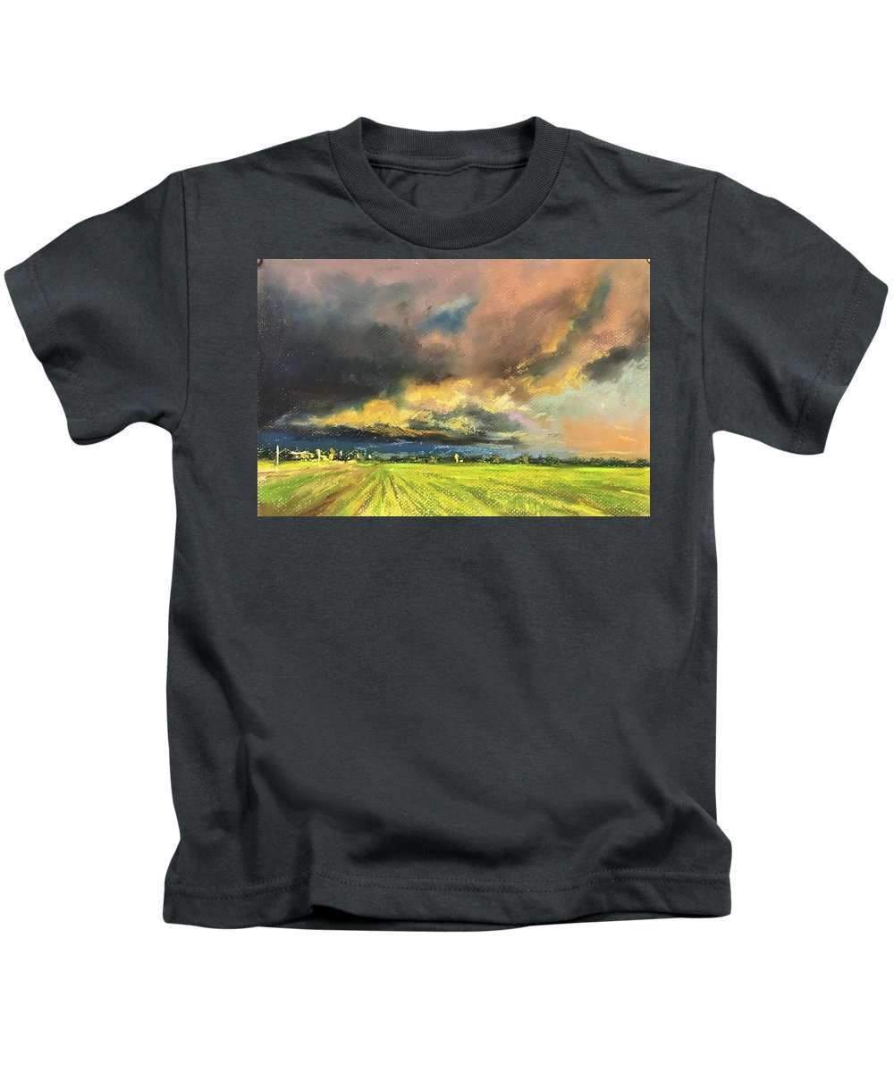 Pastel Kids T-Shirt featuring the pastel It Is Coming by Vlad Duchev