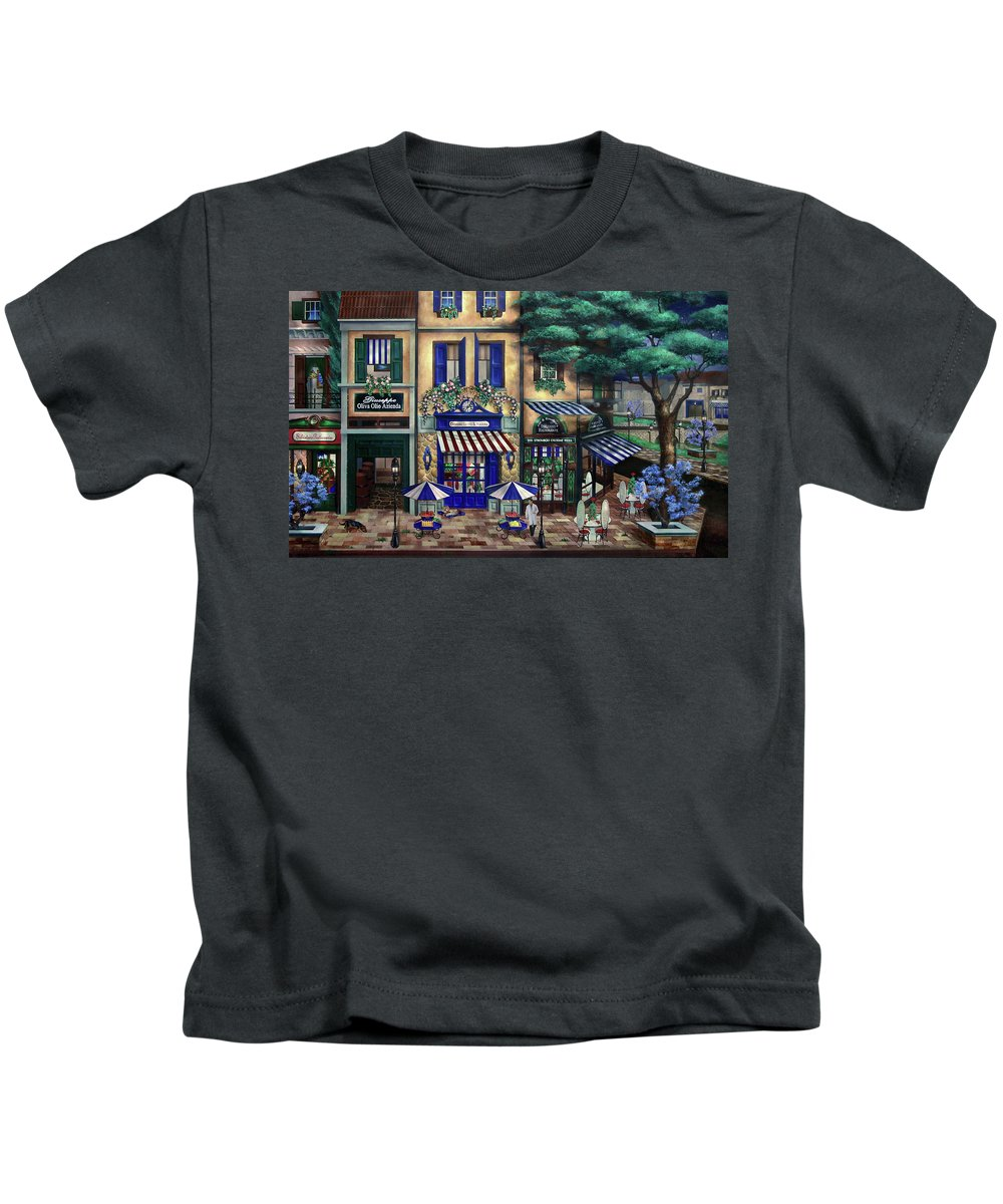 Italian Kids T-Shirt featuring the mixed media Italian Cafe by Curtiss Shaffer