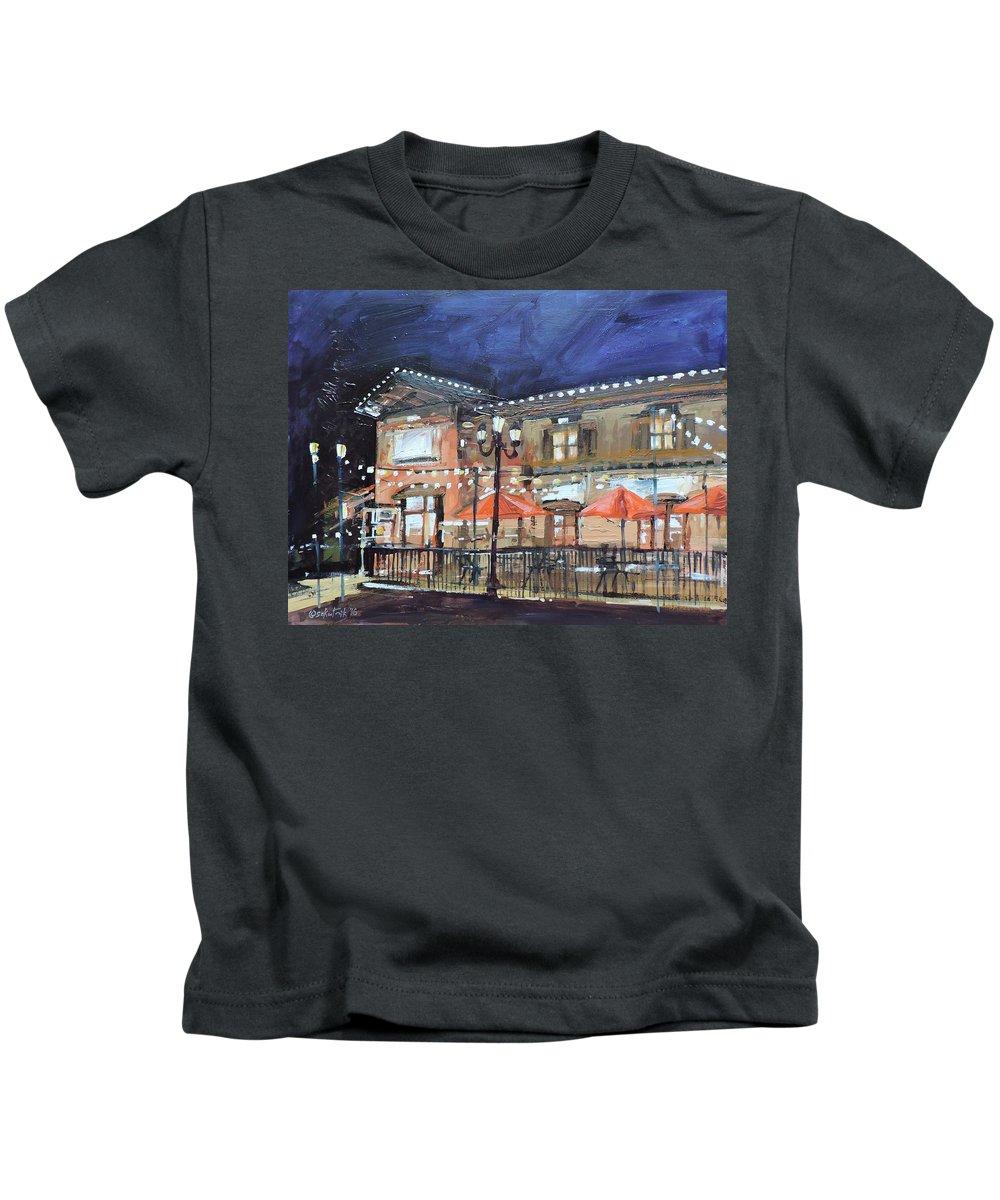 Architecture Nocturne Kids T-Shirt featuring the painting Italian Restaurant by Richard Szkutnik